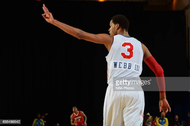 James Webb III of the Delaware 87ers celebrates a three during the game against the Maine Red Claws on February 14 2017 at the Bob Carpenter Center...