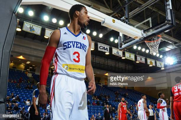 James Webb III of the Delaware 87ers celebrates block a shot during the game against the Maine Red Claws on February 14 2017 at the Bob Carpenter...
