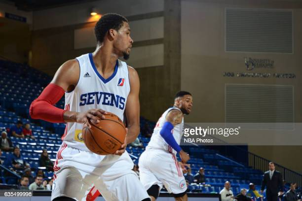 James Webb III of the Delaware 87ers looks to pass during the game against the Maine Red Claws on February 14 2017 at the Bob Carpenter Center in...