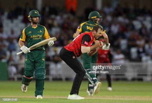 James Weighell of Durham celebrates after taking the wicket of Dan Christian during the Vitality Blast match between Nottinghamshire Outlaws and...