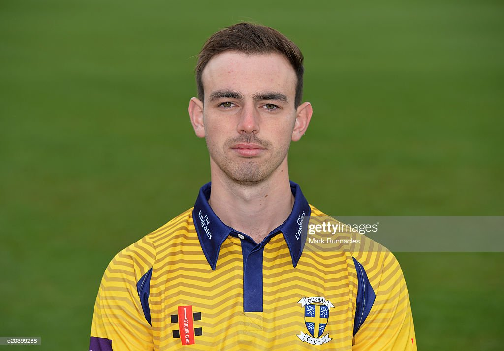 W James Weighell of Durham poses for a photograph in the One Day kit during the Durham County Cricket Club photocall at the Riverside on April 8, 2016 in Chester-Le-Street, England. (Photo by Mark Runnacles/Getty Images) W James Weighell