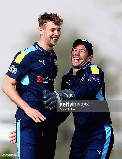 James Weinman and Andrew Hodd of Yorkshire Vikings celebrates during the Emirates Airline T20 Cup match between MCC and Yorkshire Vikings at the...