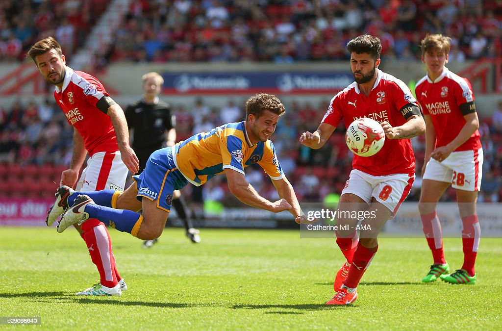 James Wesolowski of Shrewsbury Town and Yaser Kasim of Swindon Town during the Sky Bet League One match between Swindon Town and Shrewsbury Town at County Ground on May 8, 2016 in Swindon, England.