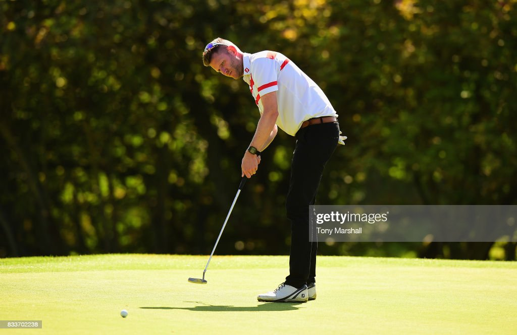 James Whatley of Morley Hayes Golf putts on the 15th green during the Golfbreaks.com PGA Fourball Championship - Day 2 at Whittlebury Park Golf & Country Club on August 17, 2017 in Towcester, England.