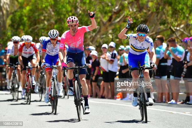 James Whelan of Australia and Team EF Education First Pro Cycling and Michael Potter of Australia and Team UniSA-Australia compete during the 21st...