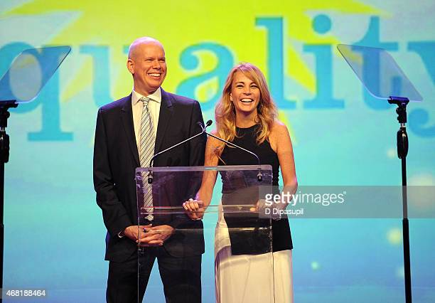 James White and Patsy Doerr speak onstage at the 7th Annual PFLAG National Straight For Equality Awards Gala at The New York Marriott Marquis on...