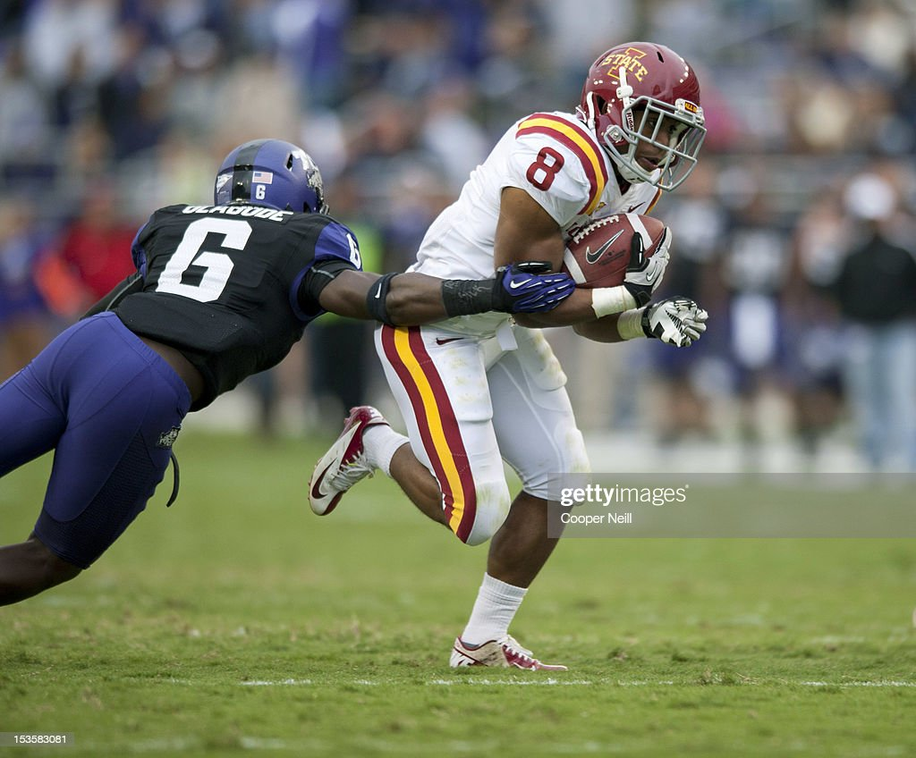 James White #8 of the Iowa State Cyclones breaks free during the Big 12 Conference game against the TCU Horned Frogs on October 6, 2012 at Amon G. Carter Stadium in Fort Worth, Texas.