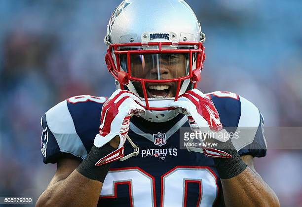James White of the New England Patriots looks on during warm ups prior to the AFC Divisional Playoff Game against the Kansas City Chiefs at Gillette...