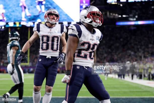 James White of the New England Patriots reacts after a 26yard touchdown run against the Philadelphia Eagles during the second quarter in Super Bowl...