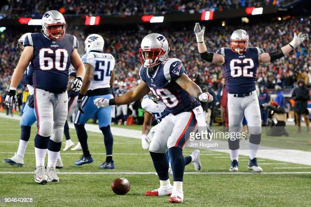 James White of the New England Patriots reacts after scoring a touchdown in the second quarter of the AFC Divisional Playoff game against the...