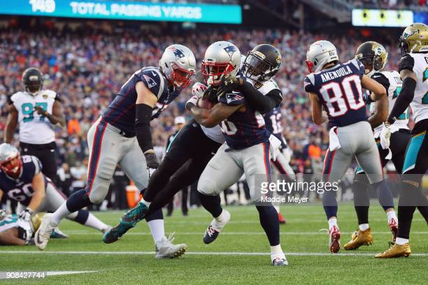 James White of the New England Patriots scores a touchdown in the second quarter during the AFC Championship Game against the Jacksonville Jaguars at...