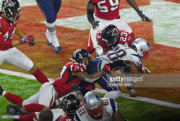 James White of the New England Patriots scores the winning touchdown in overtime against the Atlanta Falcons during Super Bowl 51 at NRG Stadium on...