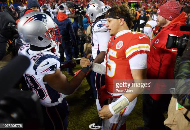 James White of the New England Patriots talks with Patrick Mahomes of the Kansas City Chiefs after the Patriots defeated the Chiefs 3731 in overtime...