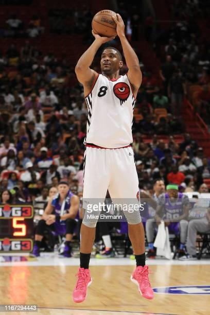 James White of Trilogy shoots a jumper against the Ghost Ballers during week eight of the BIG3 three on three basketball league at AmericanAirlines...