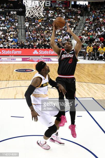 James White of Trilogy shoots against Stephen Jackson of Killer 3s during week four of the BIG3 three-on-three basketball league at Barclays Center...