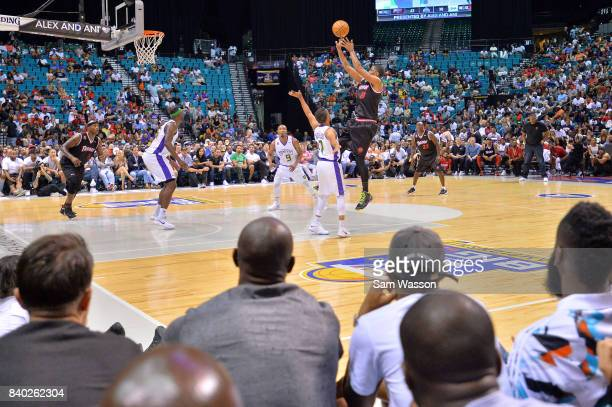 James White of Trilogy takes a shot against Mahmoud AbdulRauf of 3 Headed Monsters during the BIG3 three on three basketball league championship game...