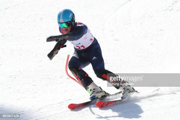 James Whitley of Great Britain competes in the Alpine Skiing Men's Slalom Standing during day eight of the PyeongChang 2018 Paralympic Games on March...