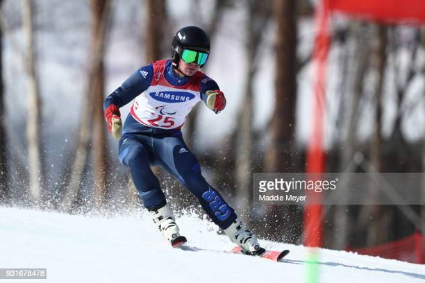 James Whitley of Great Britain competes in the Men's Giant Slalom Visually Impaired on day five of the PyeongChang 2018 Paralympic Games on March 14...
