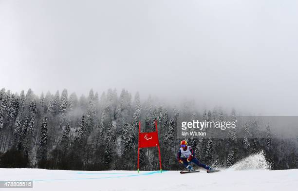 James Whitley of Great Britain competes in the Men's Giant Slalom Standing during day eight of the Sochi 2014 Paralympic Winter Games at Rosa Khutor...