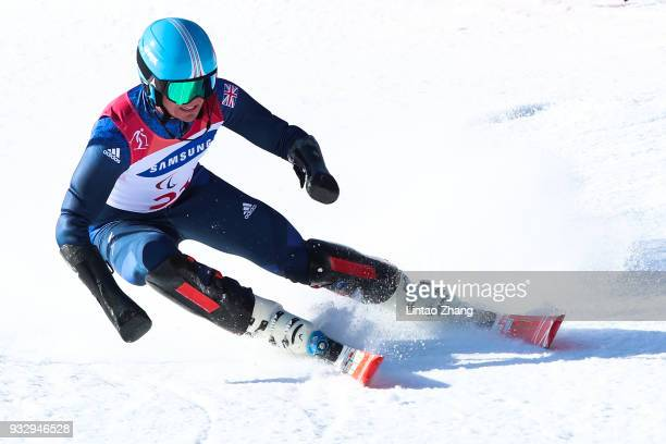 James Whitley of Great Britain competes in the Men's Slalom Run 1 Visually Impairedat Jeongseon at Alpine Centre during day eight of the PyeongChang...