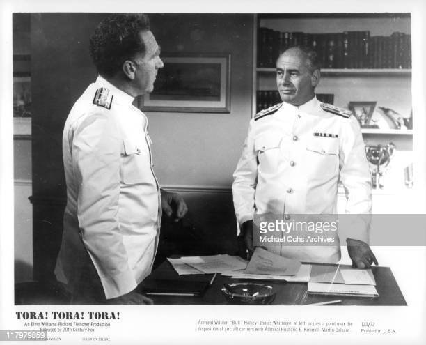 James Whitmore argues with Martin Balsam in a scene from the film 'Tora Tora Tora' 1970
