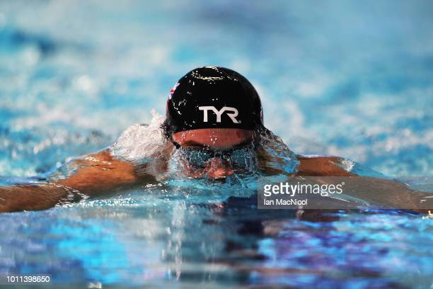 James Wilby of Great Britain competes during the Men's 200m Breaststroke heats on Day Four of the European Championships Glasgow 2018 at Tollcross...
