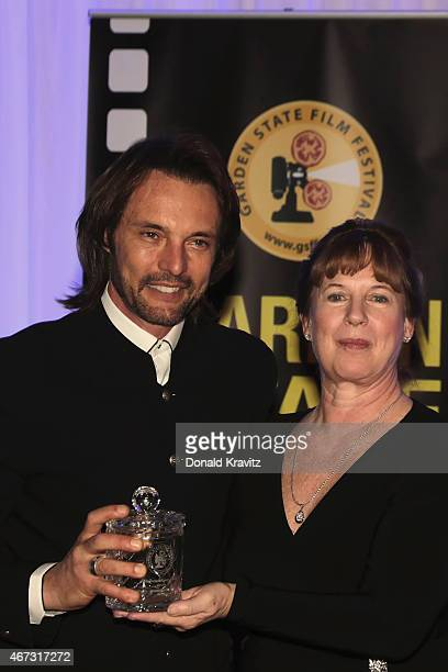James Wilder and Diane Raver Executive Director of the Garden State Film Festival attend the 2015 Garden State Film Festival Awards Dinner at...