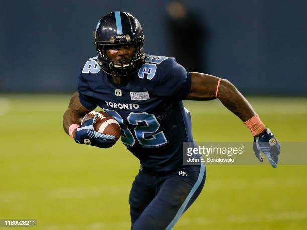 James Wilder Jr #32 of the Toronto Argonauts carries the ball against the Ottawa Redblacks at BMO Field on October 11 2019 in Toronto Canada Toronto...