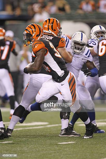 James Wilder Jr #34 of the Cincinnati Bengals runs the ball upfield during the game against the Indianapolis Colts at Paul Brown Stadium on August 28...
