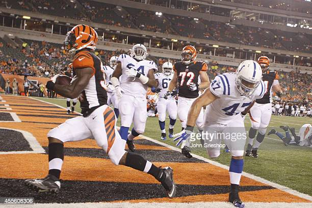 James Wilder Jr #34 of the Cincinnati Bengals scores a second half touchdown during the game against the Indianapolis Colts at Paul Brown Stadium on...