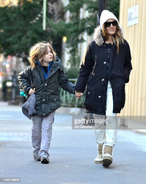 James Wilke Broderick and Sarah Jessica Parker are seen in the west village at Streets of Manhattan on February 27 2012 in New York City