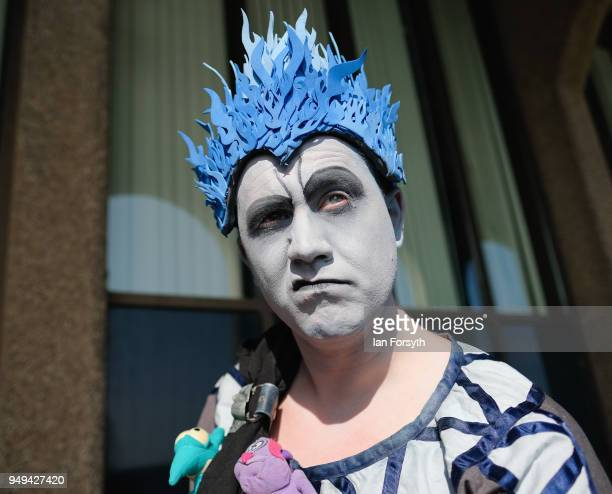 James Wilkosnon dresses as Hades from Disney's Hercules as he attends the Scarborough Sci-Fi event held at the seafront Spa Complex on April 21, 2018...