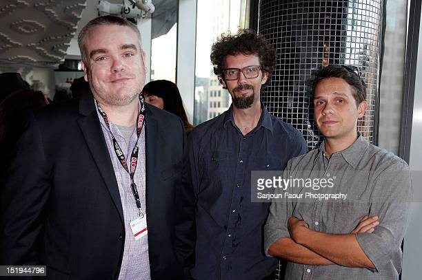 James Wilks Steve Wilson and Arv Slabosevicius attend the Sales and Industry cocktail reception during the 2012 Toronto International Film Festival...
