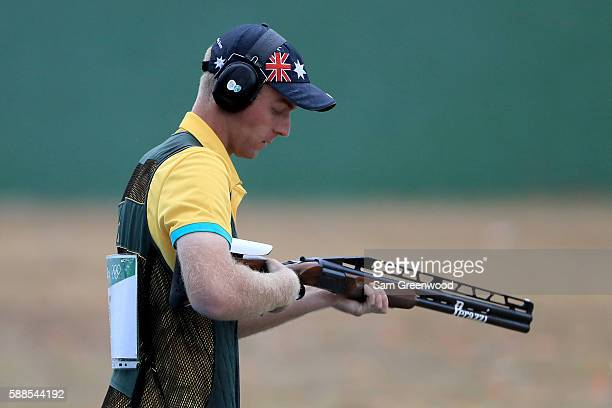 James Willett of Australia competes in the Men's Shooting Double Trap on Day 5 of the Rio 2016 Olympic Games at the Olympic Shooting Centre on August...