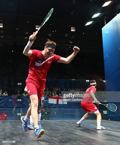 James Willstrop of England celebrates after he and teammate Daryl Selby defeated Lance Beddoes and Paul Coll of New Zealand in the men's doubles...