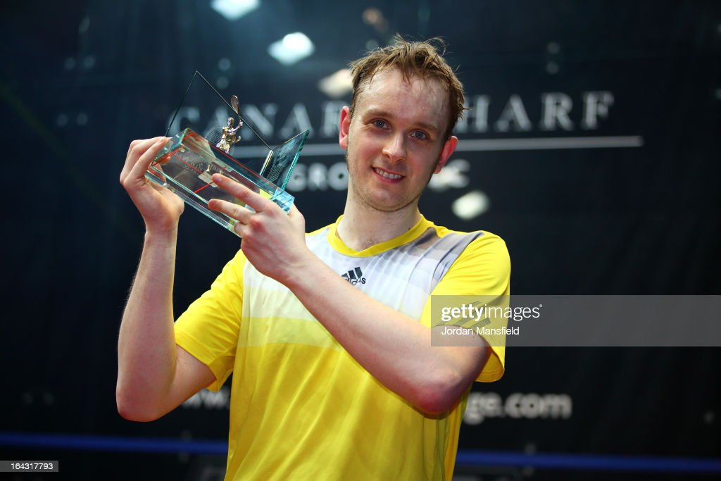 James Willstrop of England holds his trophy after winning the Canary Wharf Squash Classic 2013 defeating Peter Barker of England in the final on March 22, 2013 in London, England.