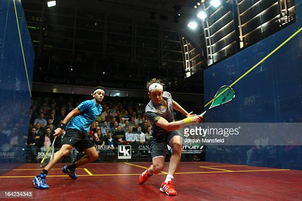 James Willstrop of England in action against Mohamed El Shorbagy of Egypt during their semifinal match in the Canary Wharf Squash Classic on March 21...