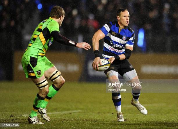 James Wilson of Bath spreads the ball out wide during the AngloWelsh Cup Semi Final match between Bath and Northampton Saints at Recreation Ground on...