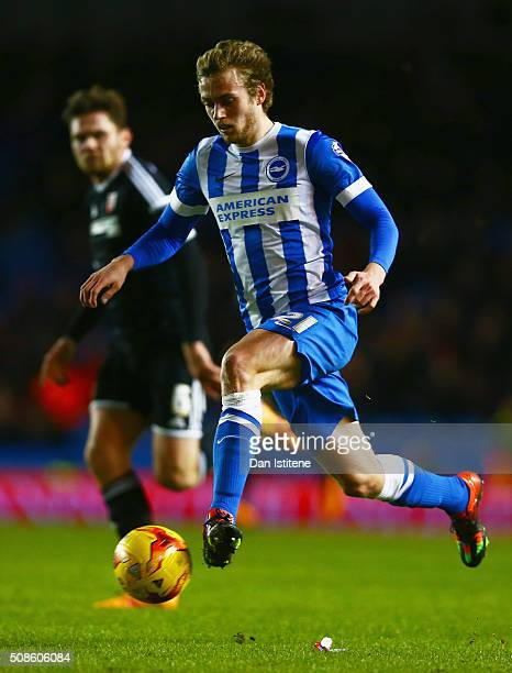 James Wilson of Brighton and Hove Albion runs with the ball during the Sky Bet Championship match between Brighton and Hove Albion and Brentford at...