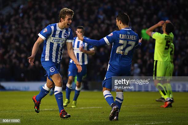 James Wilson of Brighton Hove Albion celebrates with team mate Anthony Knockaert after scoring their second goal during the Sky Bet Championship...