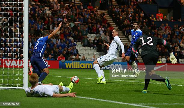 James Wilson of England scores the first goal of the game during the International friendly match between England U21 and USA U23 at Deepdale on...