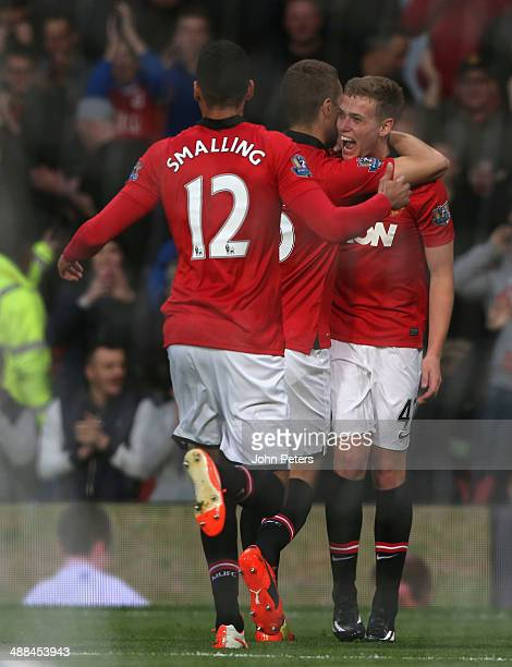 James Wilson of Manchester United celebrates scoring their first goal during the Barclays Premier League match between Manchester United and Hull...