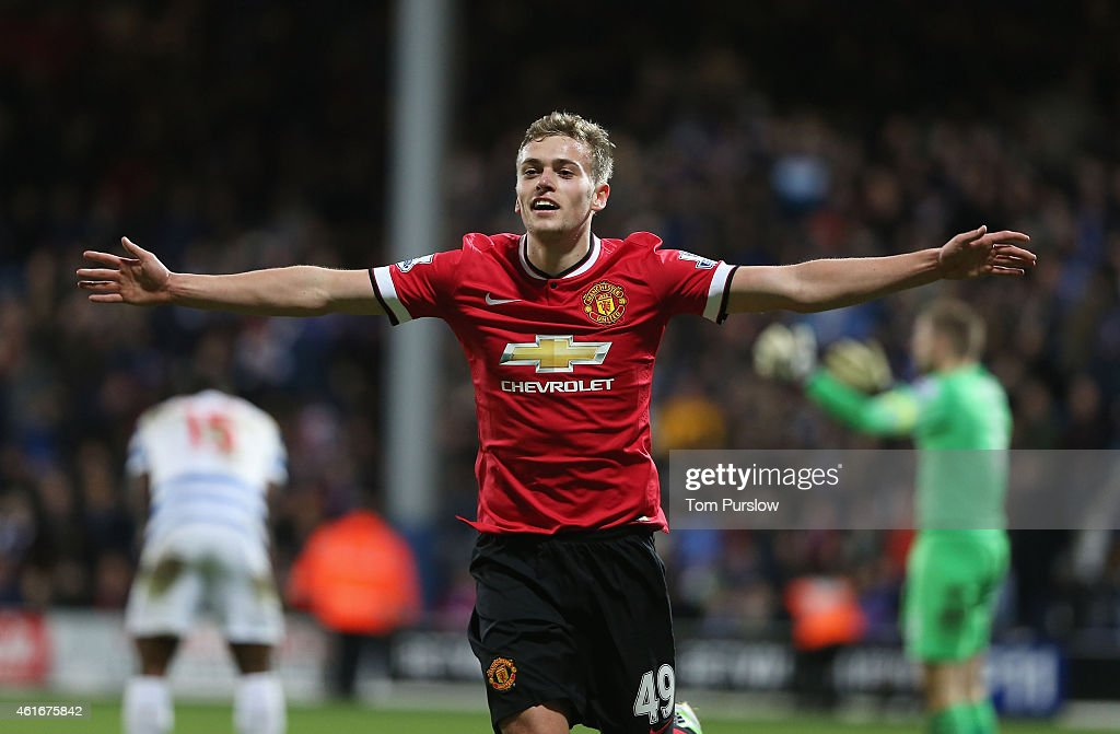 James Wilson of Manchester United celebrates scoring their second goal during the Barclays Premier League match between Queens Park Rangers and Manchester United at Loftus Road on January 17, 2015 in London, England.