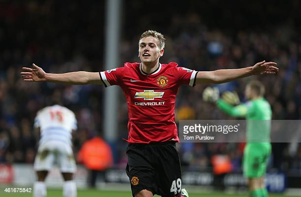 James Wilson of Manchester United celebrates scoring their second goal during the Barclays Premier League match between Queens Park Rangers and...