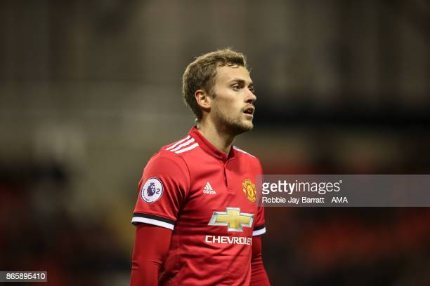 James Wilson of Manchester United during the Premier League 2 fixture between Manchester United and Liverpool at Leigh Sports Village on October 23...