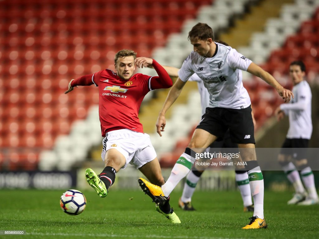 James Wilson of Manchester United during the Premier League 2 fixture between Manchester United and Liverpool at Leigh Sports Village on October 23, 2017 in Leigh, Greater Manchester.