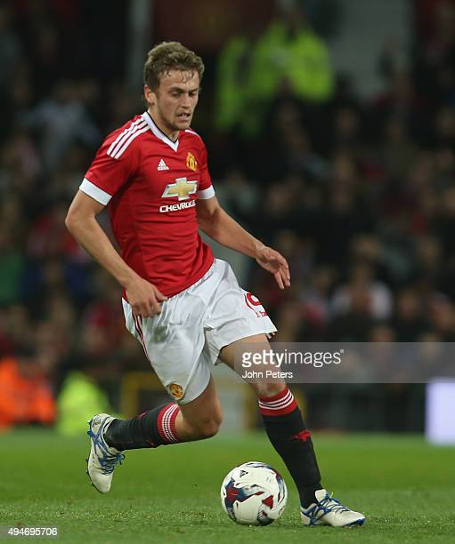 James Wilson of Manchester United in action during the Capital One Cup Fourth Round match between Manchester United and Middlesbrough at Old Trafford...