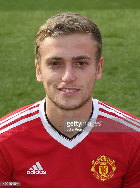 James Wilson of Manchester United poses during the club's annual photocall at Old Trafford on September 28 2015 in Manchester England