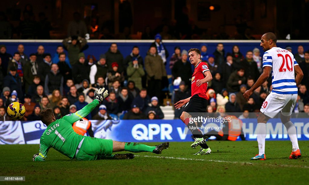 James Wilson of Manchester United scores his team's second goal past Robert Green of QPR during the Barclays Premier League match between Queens Park Rangers and Manchester United at Loftus Road on January 17, 2015 in London, England.