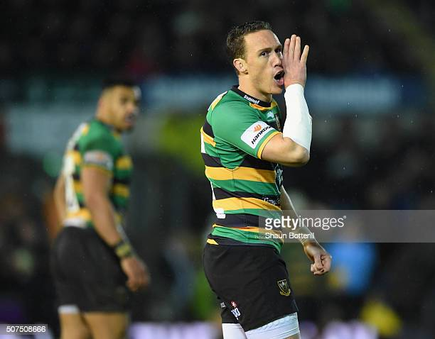 James Wilson of Northampton Saints during the Aviva Premiership match between Northampton Saints and Wasps at Franklin's Gardens on January 29 2016...